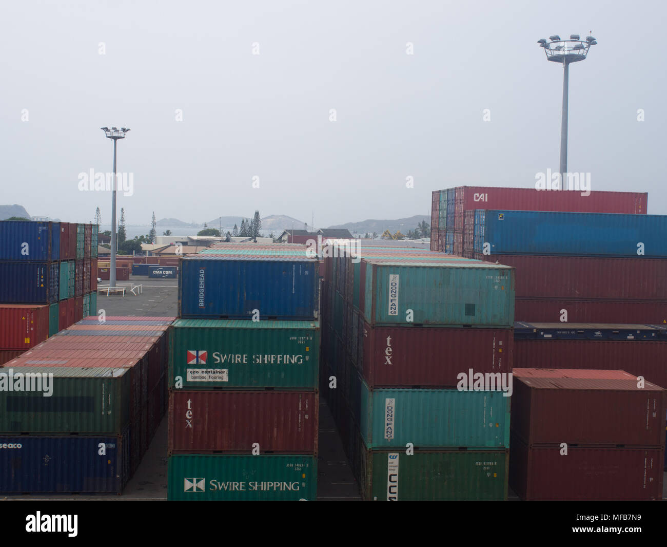 Shipping Containers At The Port of Noumea - Stock Image