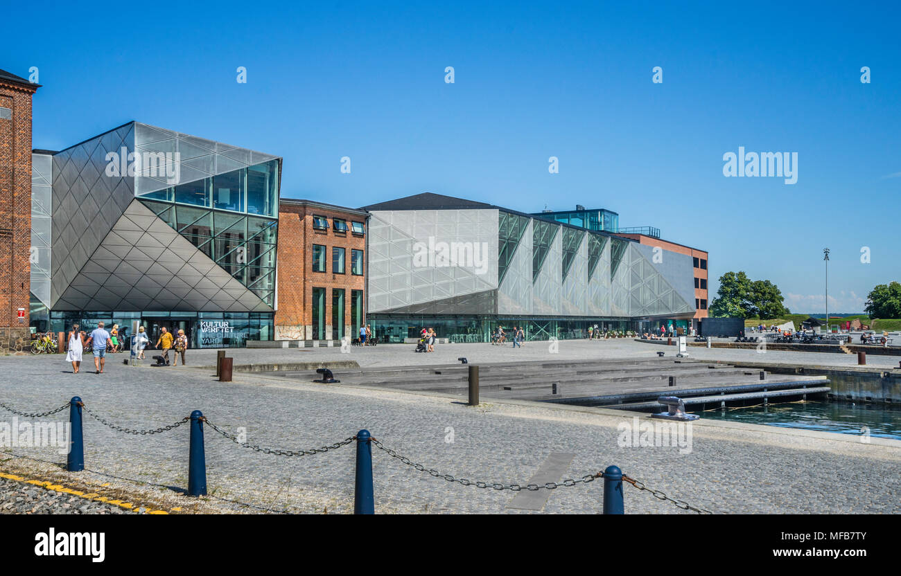 view of Kulturværftet, former Helsingør Værft and cultural centre at the Culture Harbour Kronborg, Helsingor, Zealand, Denmark - Stock Image