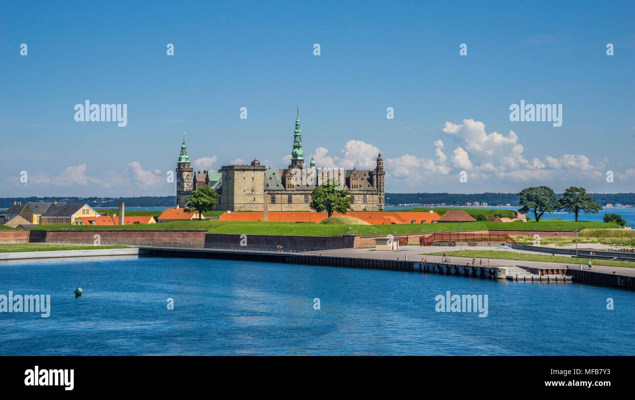 Kronborg Castle seen from the Port of Helsingor, Zealand, Denmark - Stock Image