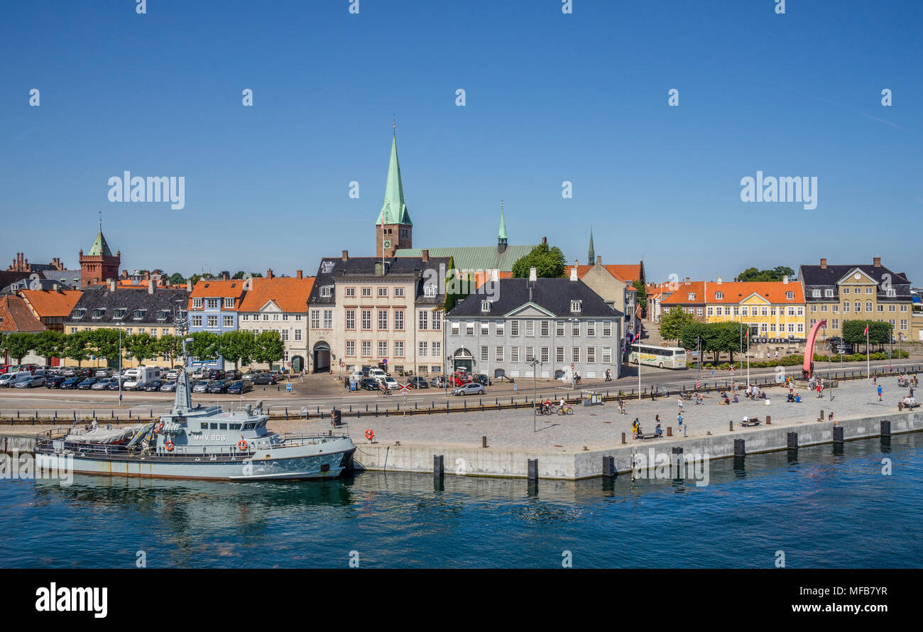view of the Helsingør Havnegade harbourfront, Zealand, Denmark - Stock Image