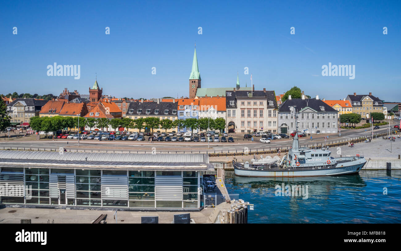 Port of Helsingør, view of the harbour square and Havnegade harbourfront, Zealand, Denmark - Stock Image