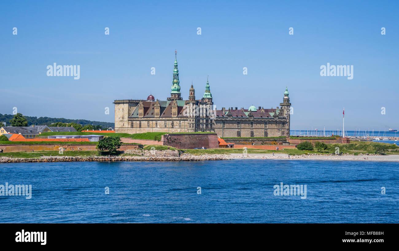 view of Kronborg Castle from the Øre Sound, Helsingør, Zealand, Denmark - Stock Image