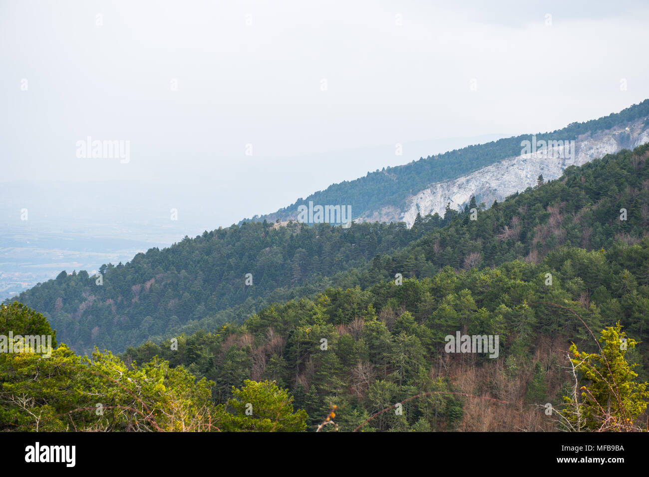 Mount Olympus in Greece. Olympus was the home of the Twelve Olympians Gods in Ancient Greek Mythology - Stock Image
