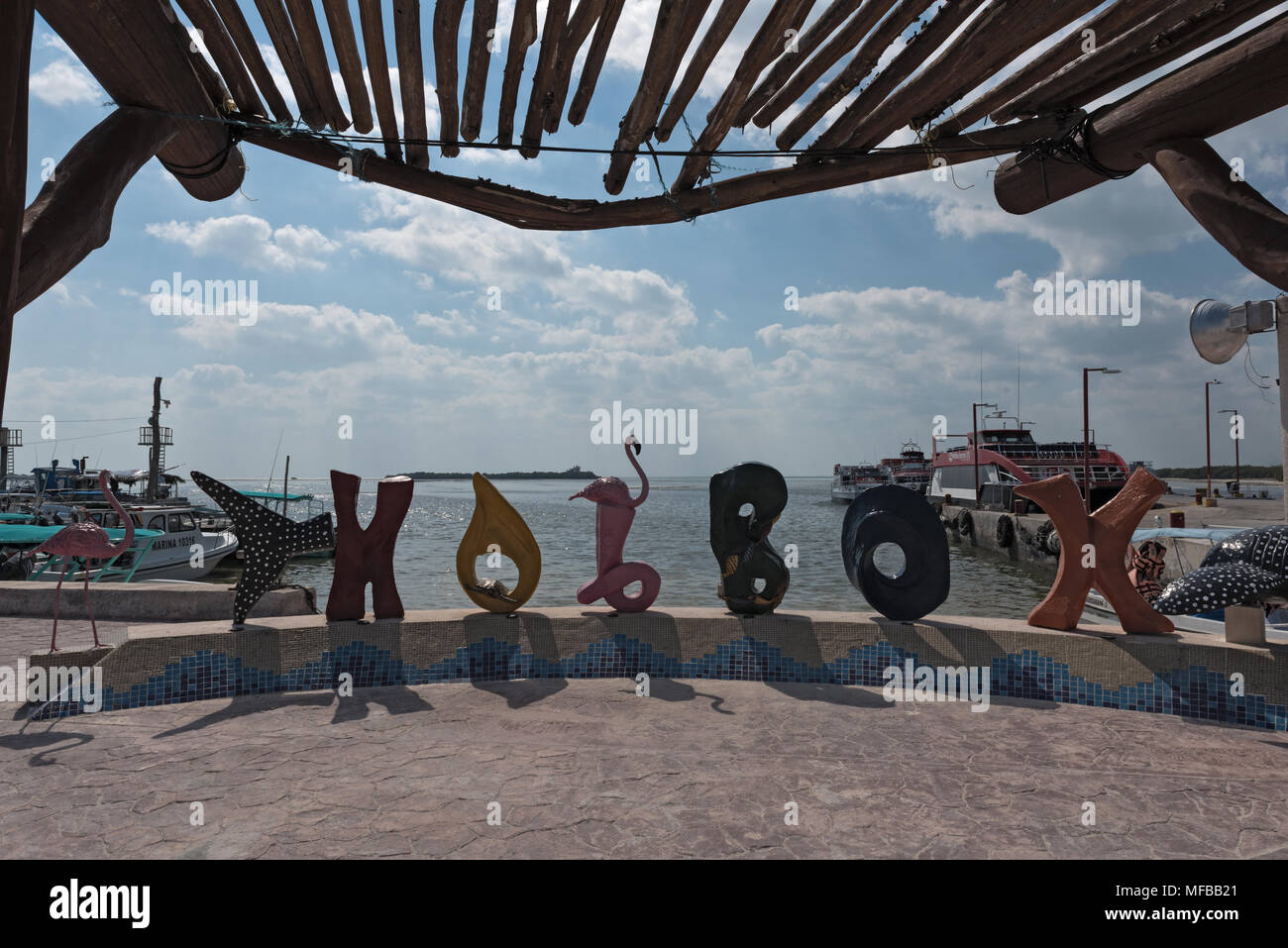 Colored lettering of the Mexican city holbox - Stock Image