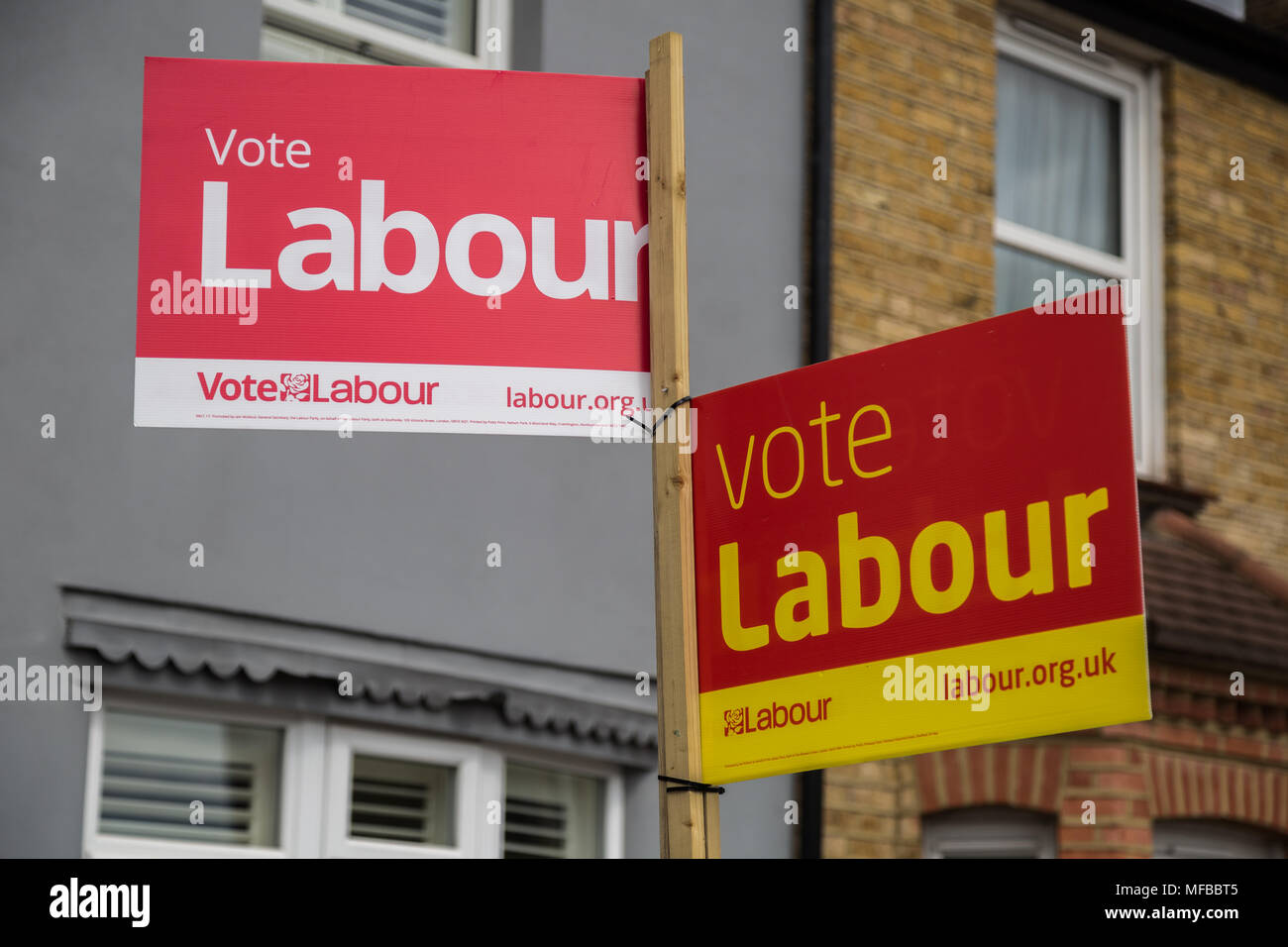 Labour party election boards ready for the London local elections in Richmond, West London, UK. - Stock Image