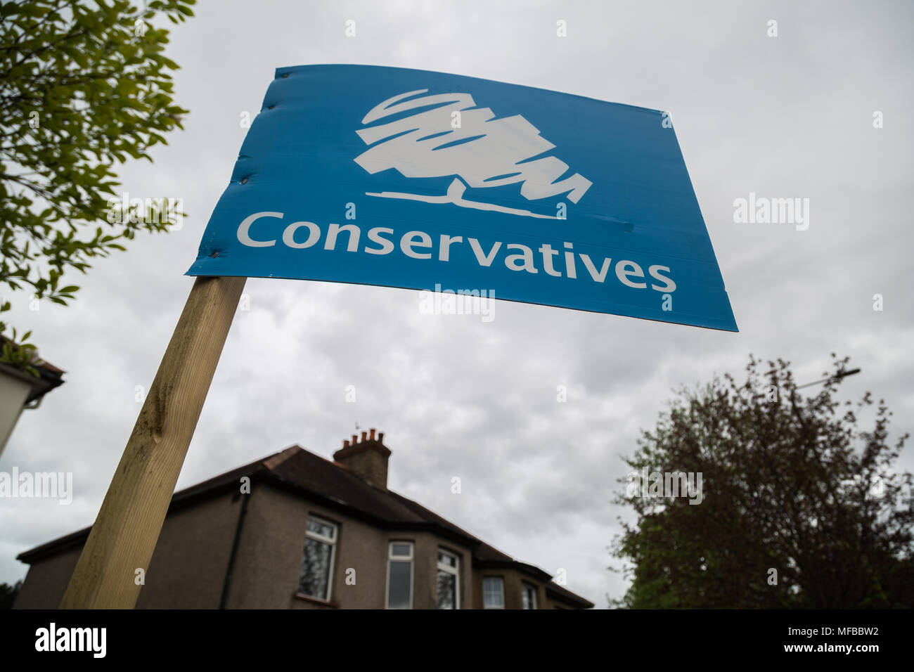 Conservative party election board ready for the London local elections in Richmond, West London, UK. - Stock Image