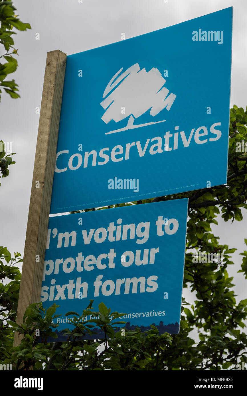 Conservative party election boards ready for the London local elections in Richmond, West London, UK. - Stock Image