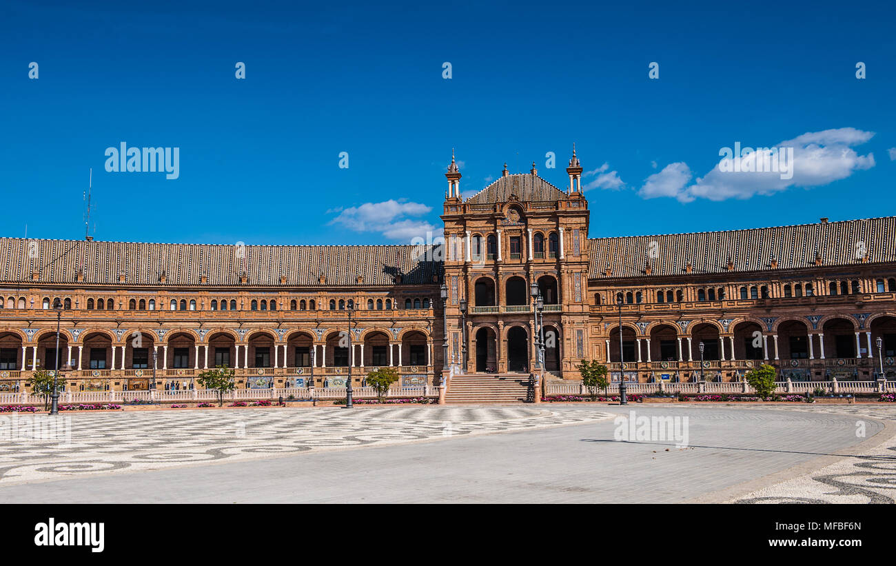 Part of the Central building at the Plaza de Espana in Seville, Andalusia, Spain. It's example of the Renaissance Revival style in Spanish architectur - Stock Image