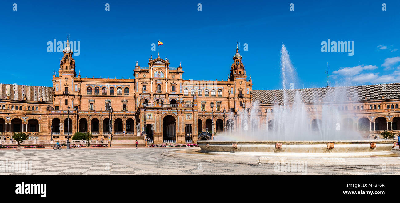 Central building and the fountain at the Plaza de Espana in Seville, Andalusia, Spain. It's example of the Renaissance Revival style in Spanish archit - Stock Image