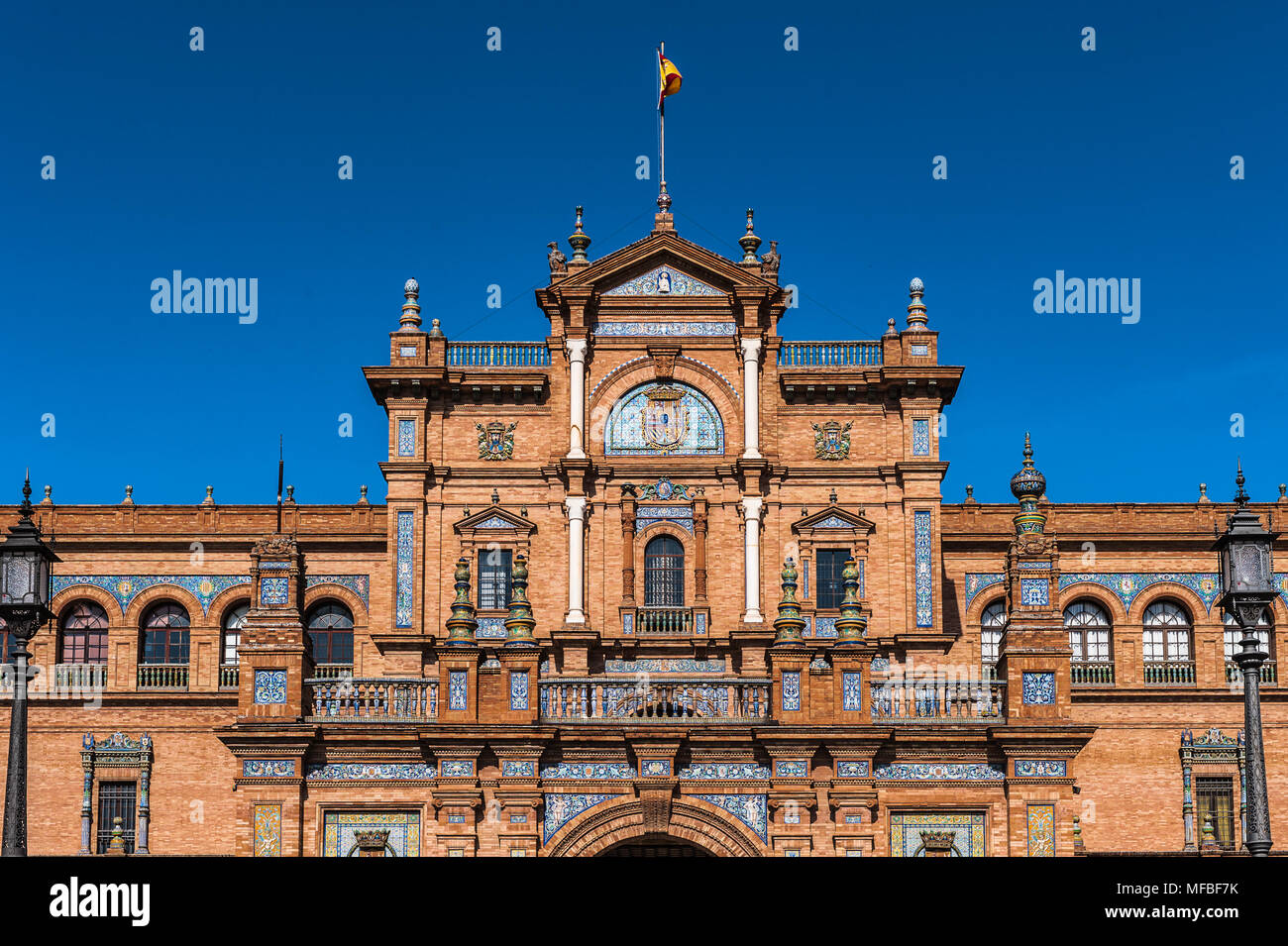 Central par of the  building at the Plaza de Espana in Seville, Andalusia, Spain. It's example of the Renaissance Revival style in Spanish architectur - Stock Image