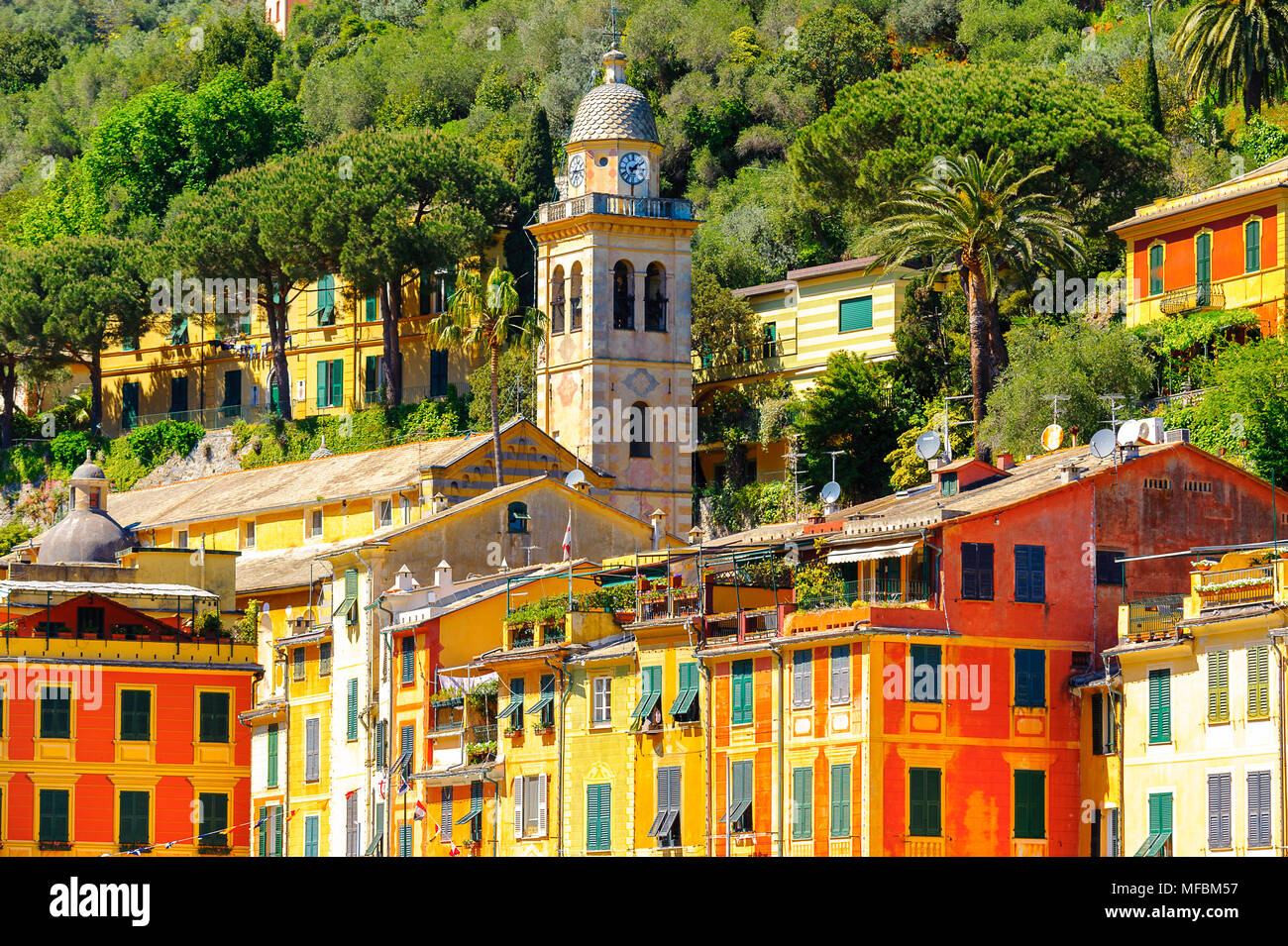 Portofino, an Italian fishing village, Genoa province, Italy. A vacation resort with a picturesque harbour and with celebrity and artistic visitors. - Stock Image