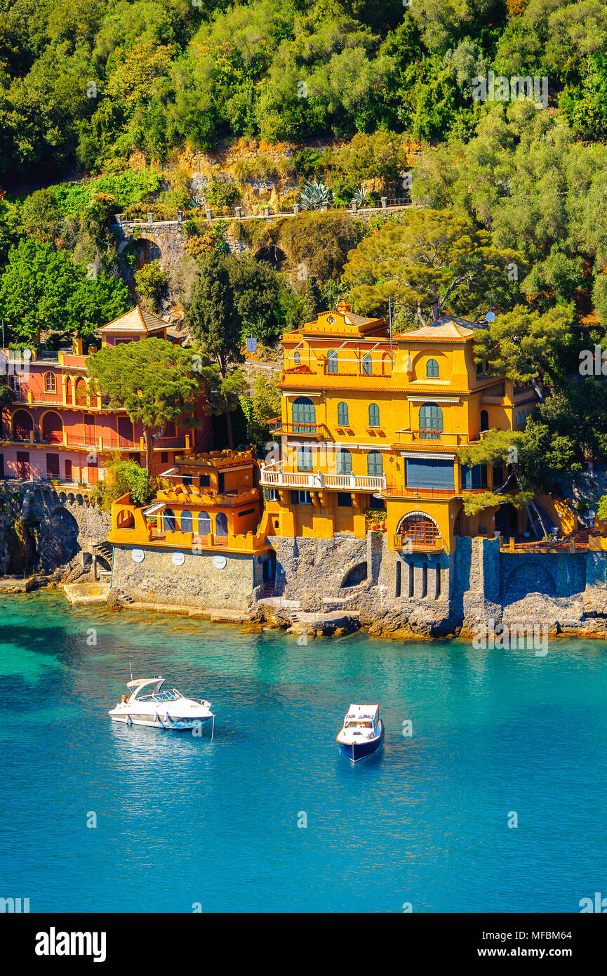 Part of Portofino, an Italian fishing village, Genoa province, Italy. A vacation resort with a picturesque harbour and with celebrity and artistic vis - Stock Image