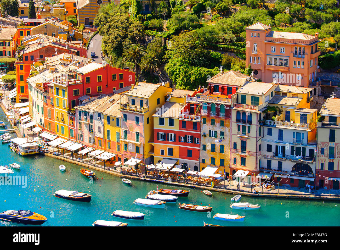 Aerial view of Portofino, an Italian fishing village, Genoa province, Italy. A vacation resort with a picturesque harbour and with celebrity and artis - Stock Image