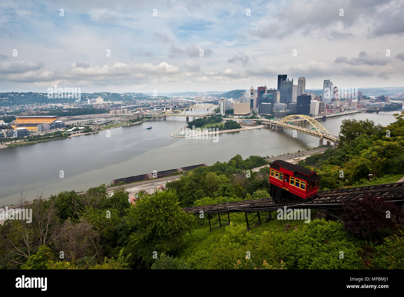 A photo of Pittsburgh from the overlook at the Duquesne Incline. - Stock Image