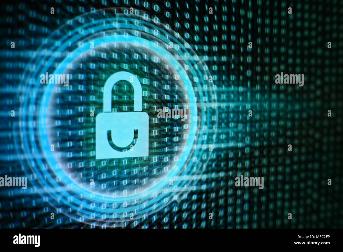 Data privacy information security in social cyber age. Blue Padlock icon, circle light energy surrounding, on blue green binary code bit flowing movem - Stock Image