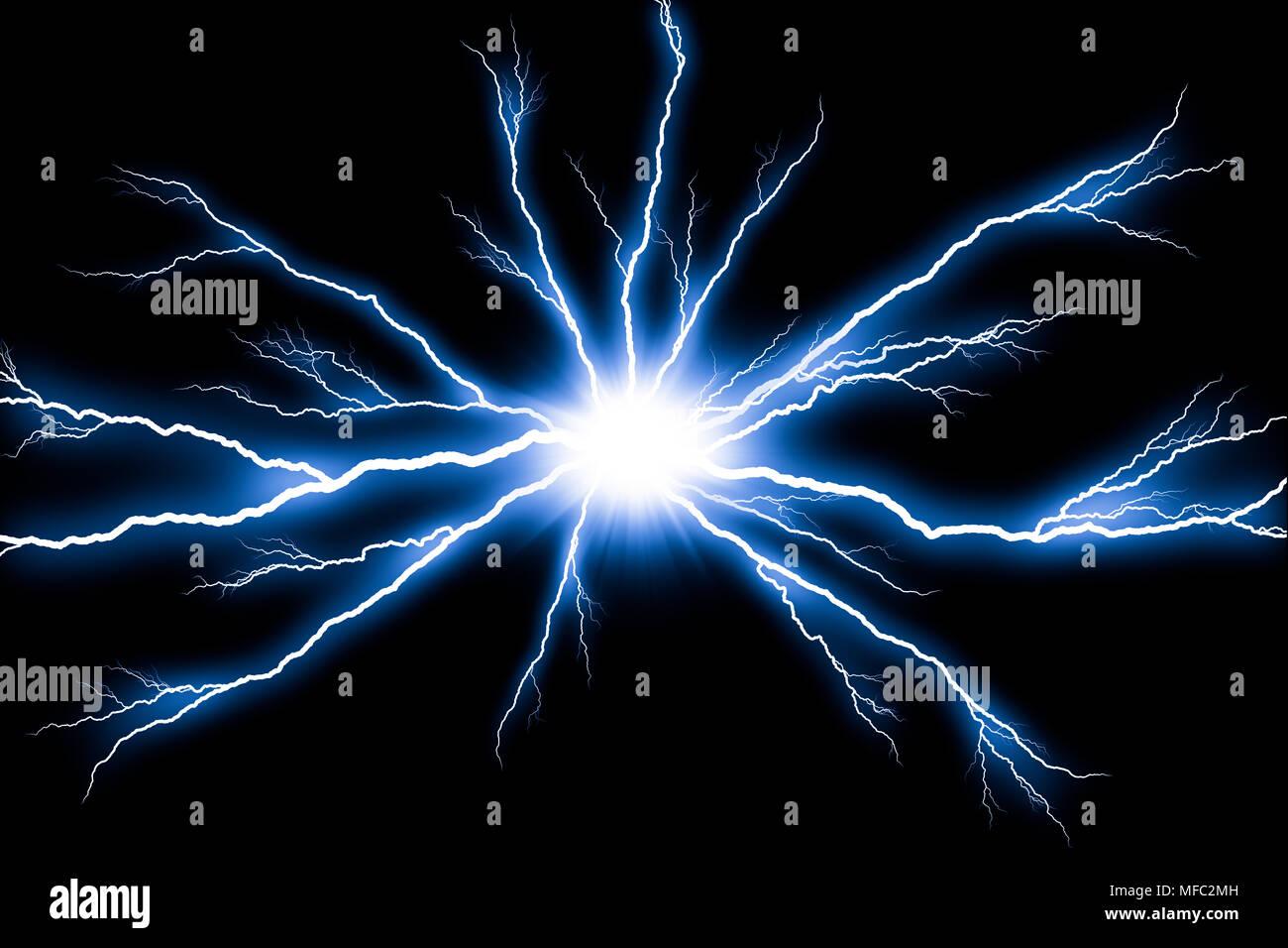 Electricity Lightning Flash Thunder Isolated On Black Background Stock Photo Alamy