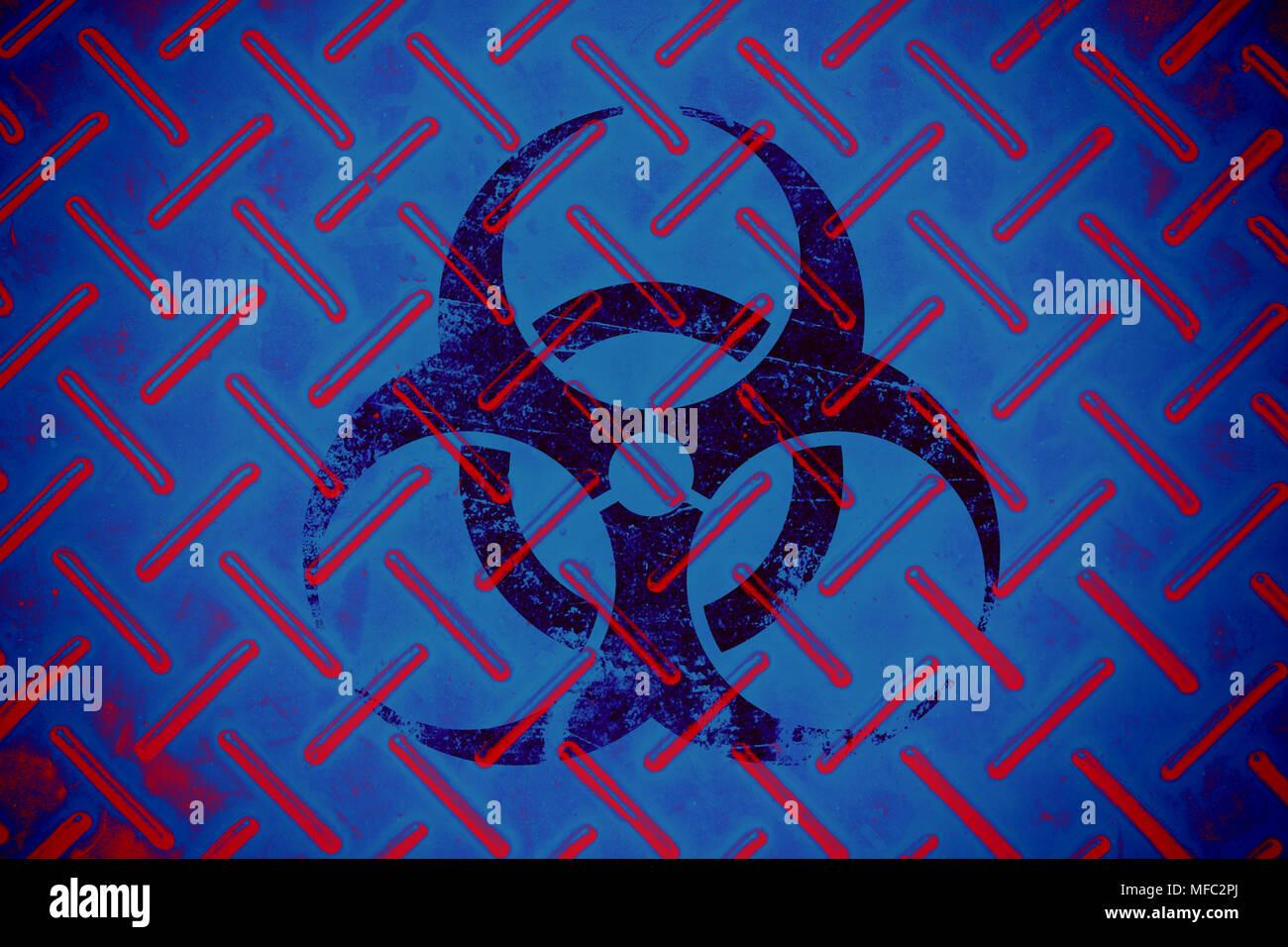 Bio Hazard epidemic chemical virus alert sign for background - Stock Image