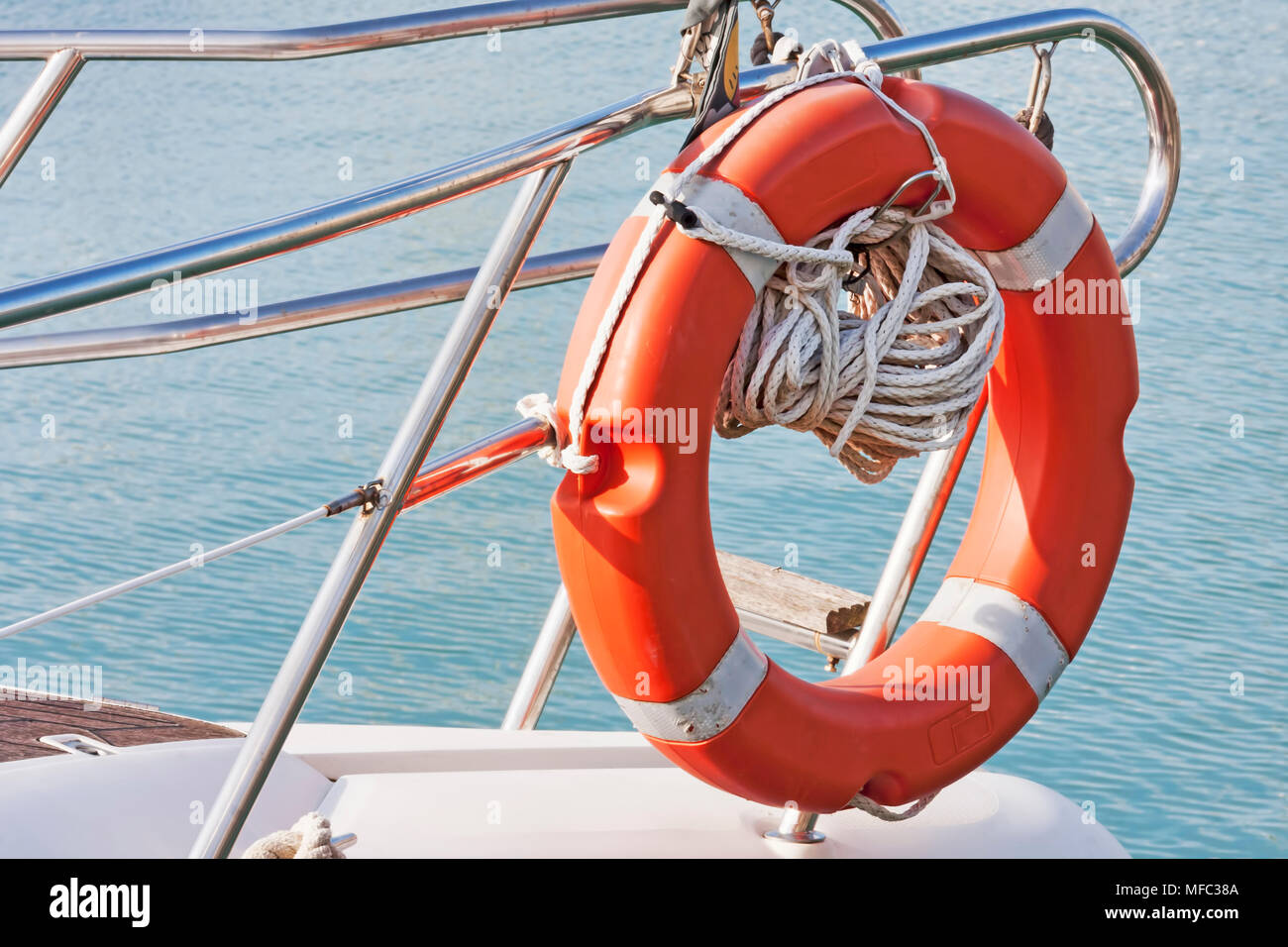 Safety equipment: lifeboat in the bow of a sailboat - Stock Image