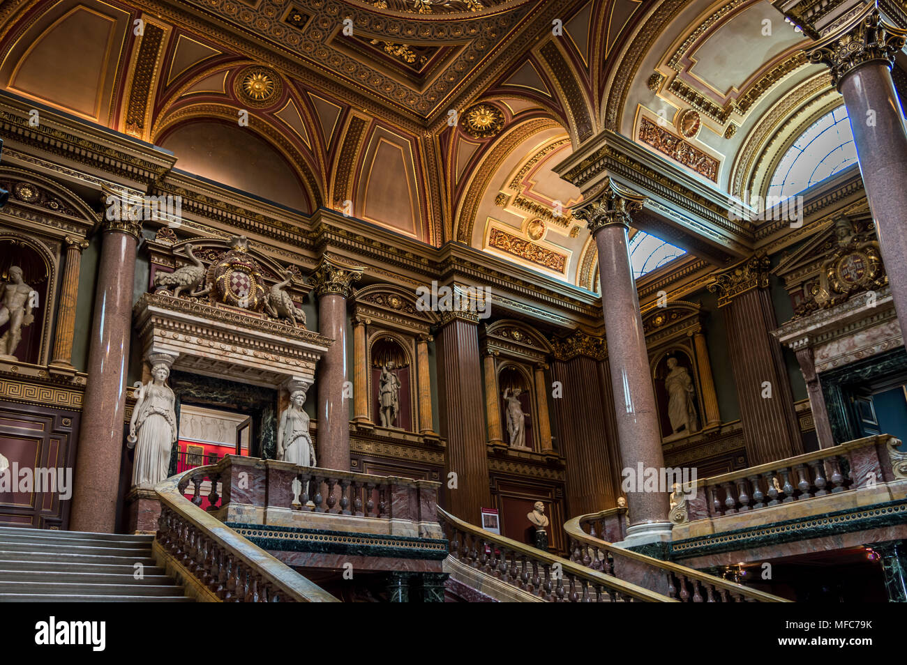 CAMBRIDGE, ENGLAND - April 23: Interior of the FitzWilliam Museum for antiquities and fine arts at Cambridge, England - Stock Image