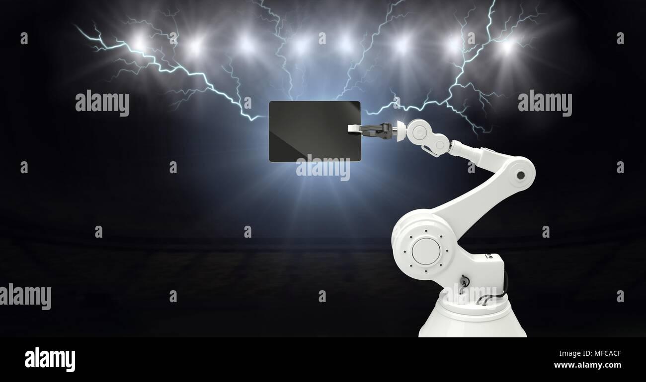 Lightning strikes and robot machine holding tablet Stock Photo ... on thunder lightning model, thunder lightning 3d, thunder lightning girl, thunder lightning water,