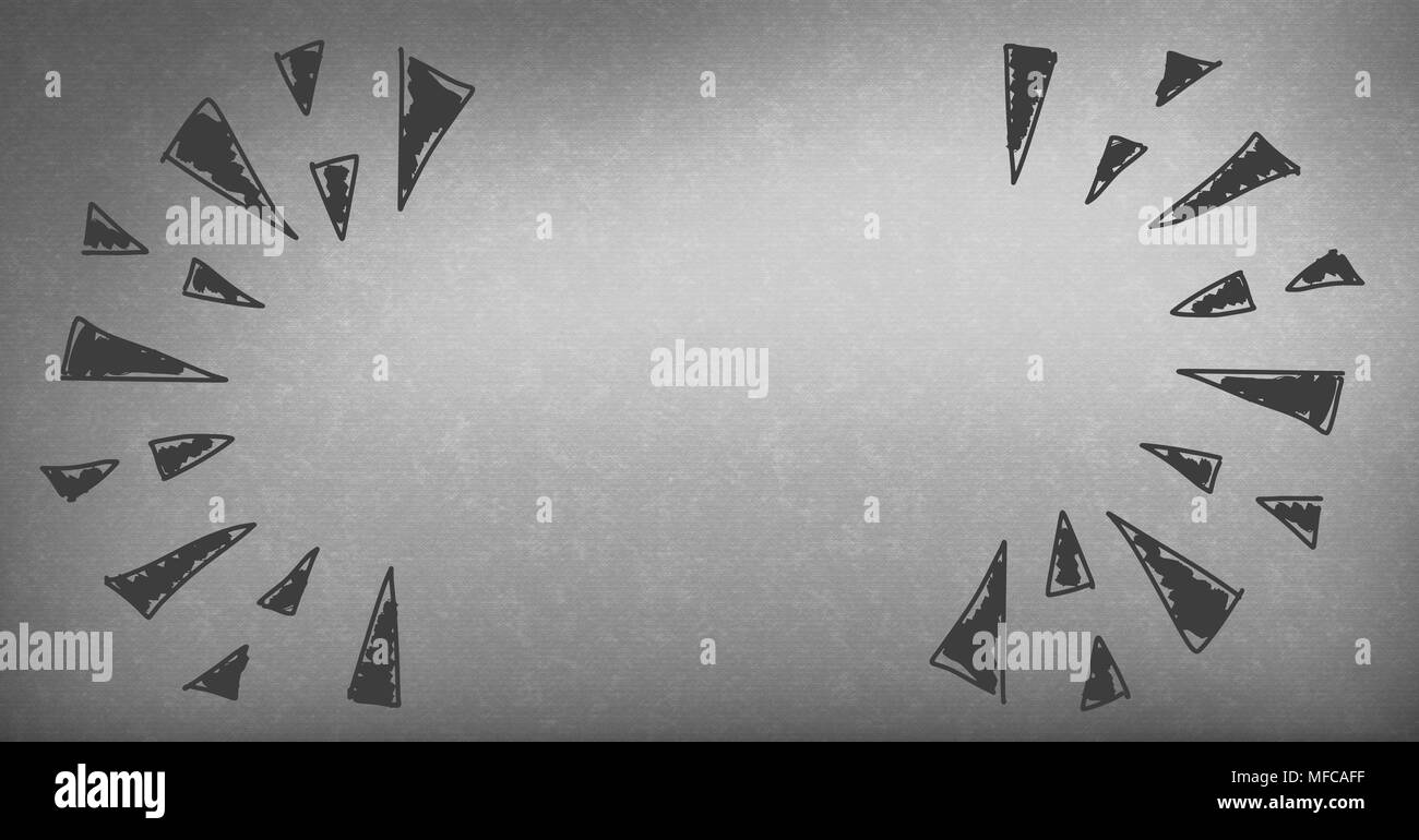 triangle doodles on grey background - Stock Image