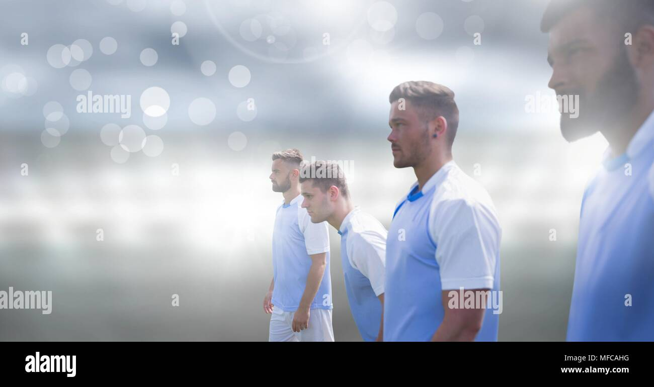 Soccer players with sparkle light effect - Stock Image
