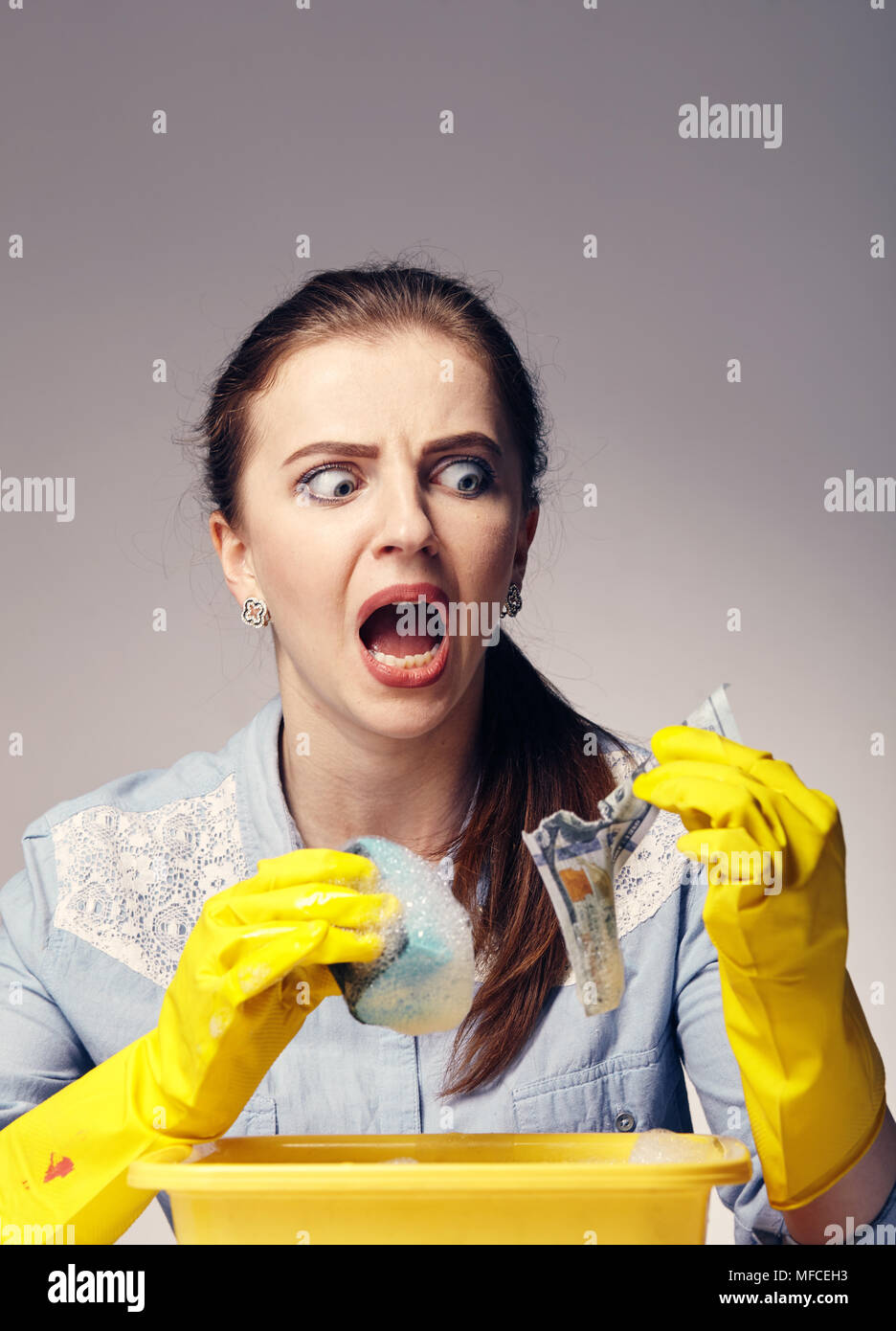 conceptual image on which the woman launder shady money - Stock Image