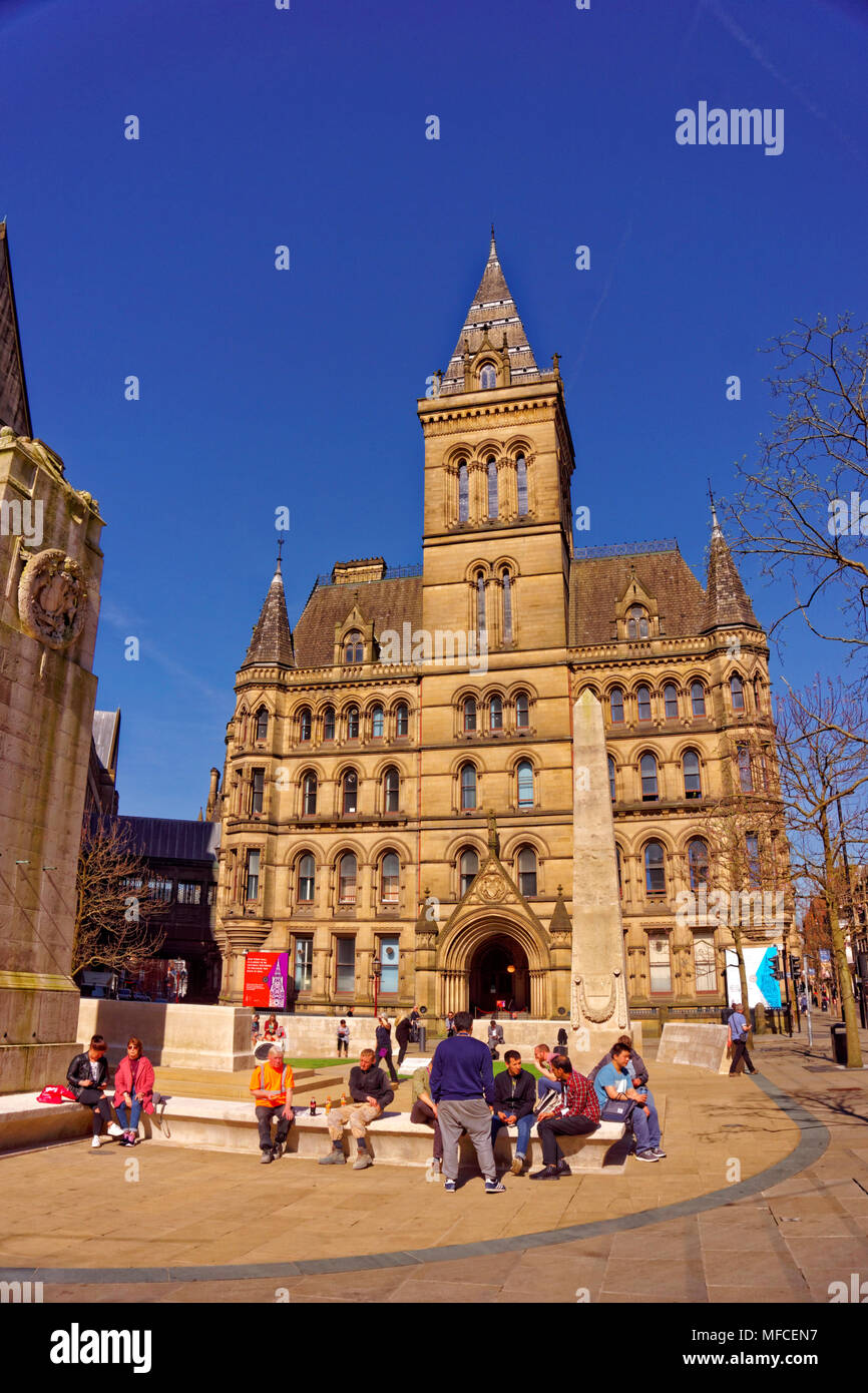 Manchester Town Hall east facing exit and the cenotaph area in Manchester city centre, Greater Manchester, England, UK. - Stock Image