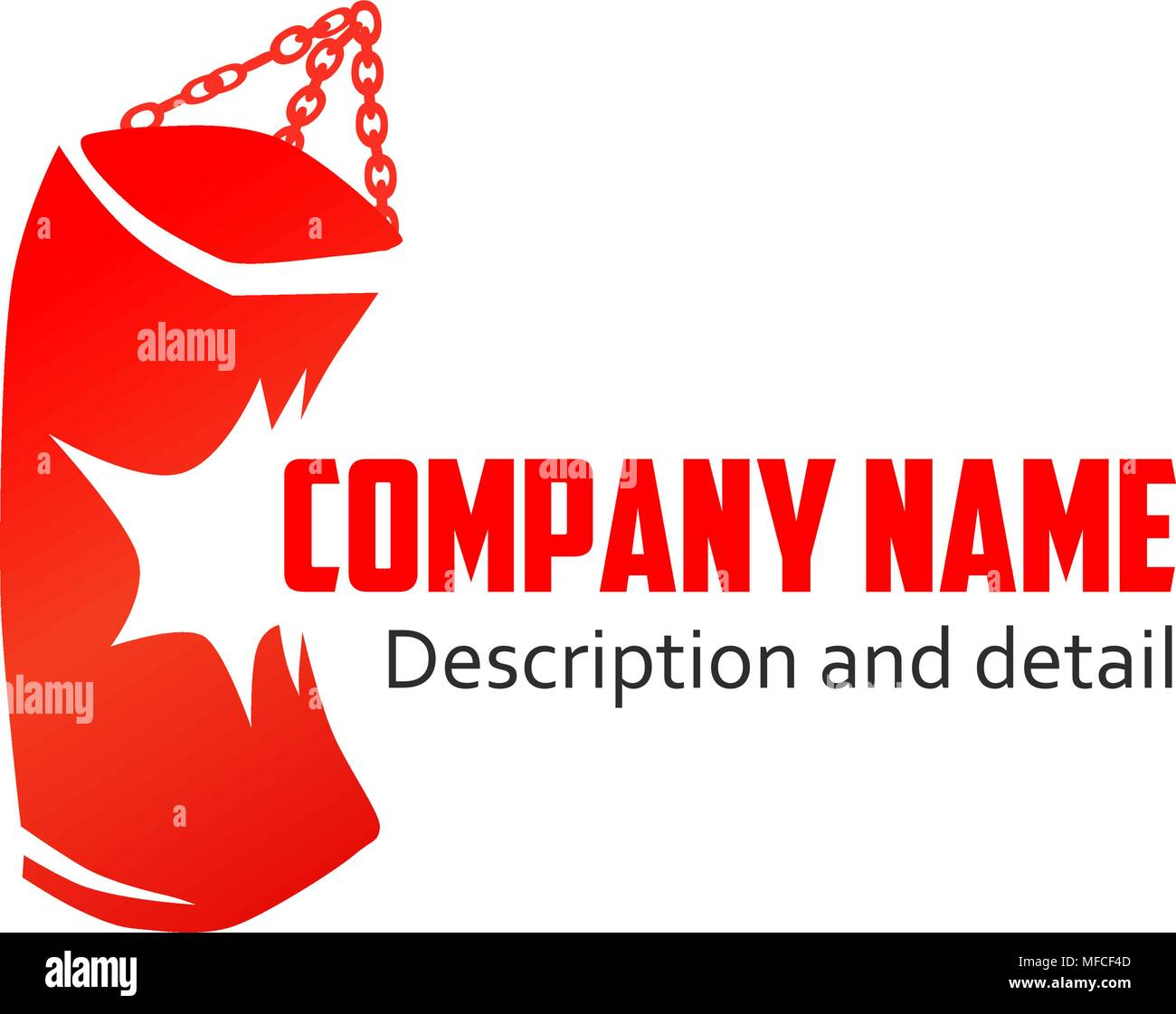 Red Punching Bag With Caption, Vector Logo isolated on white background - Stock Vector