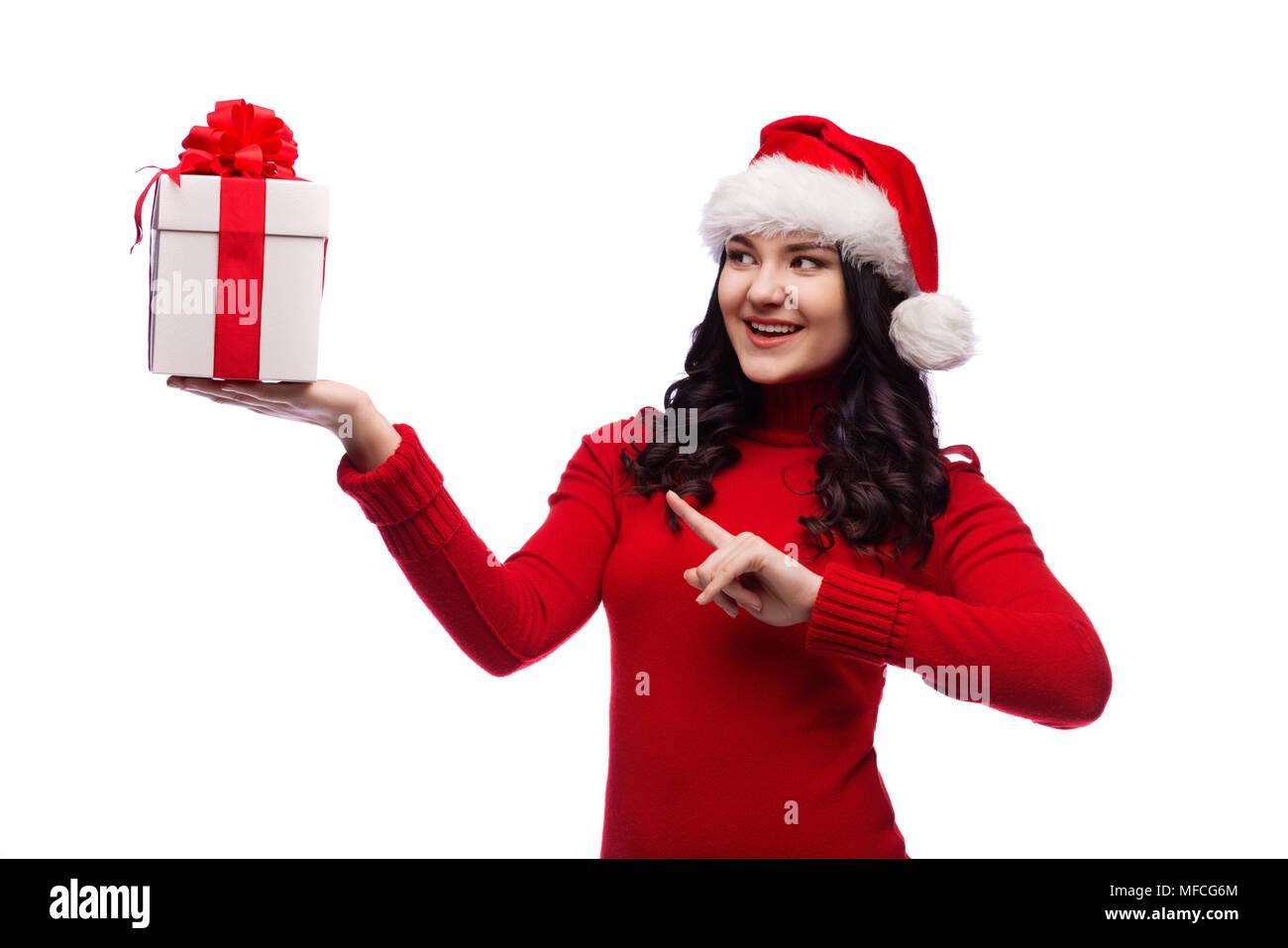Christmas Santa hat isolated woman portrait hold christmas gift ...