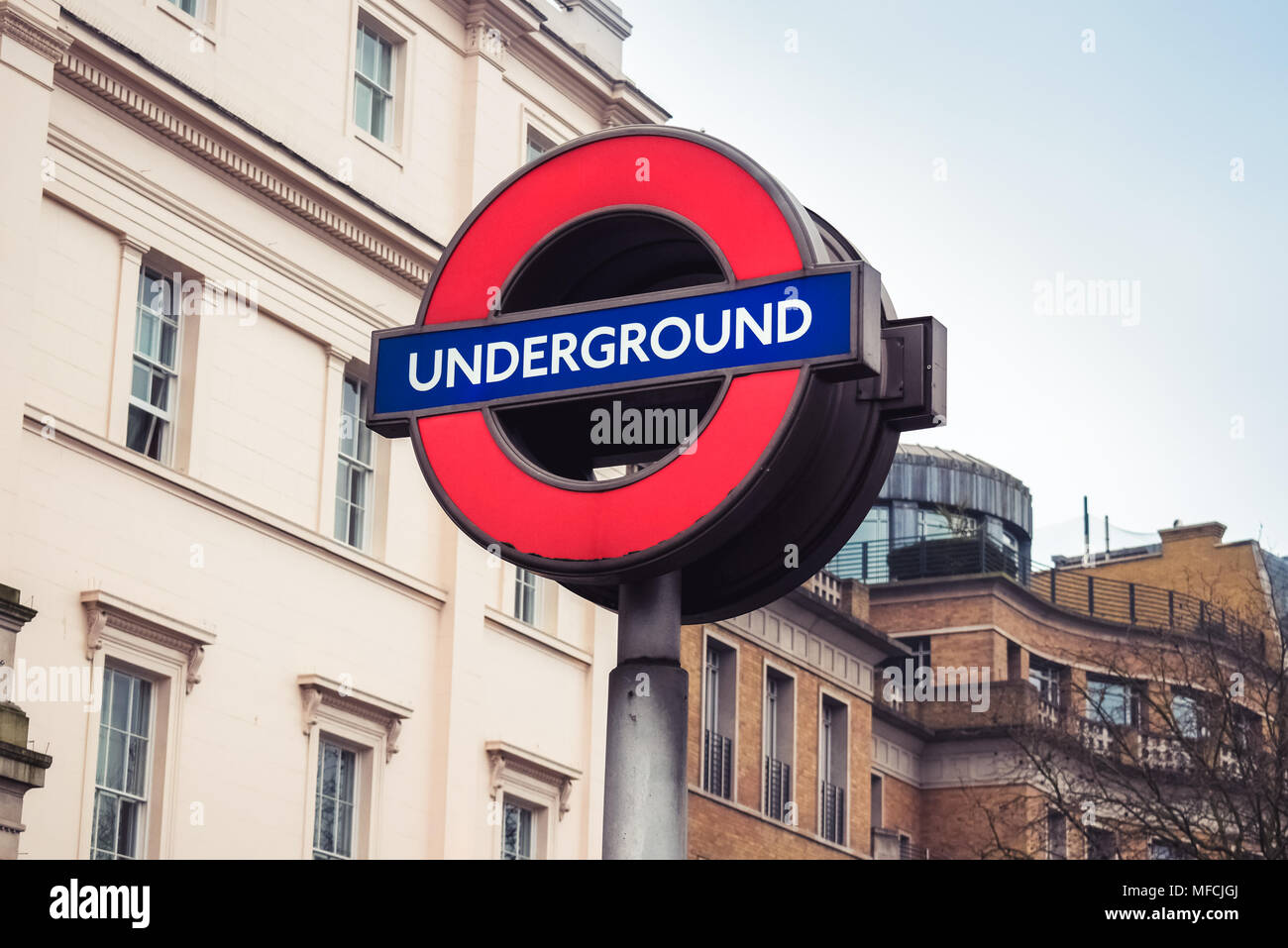London / England - 02.07.2017: City information sign of tube (metro) entrance. - Stock Image