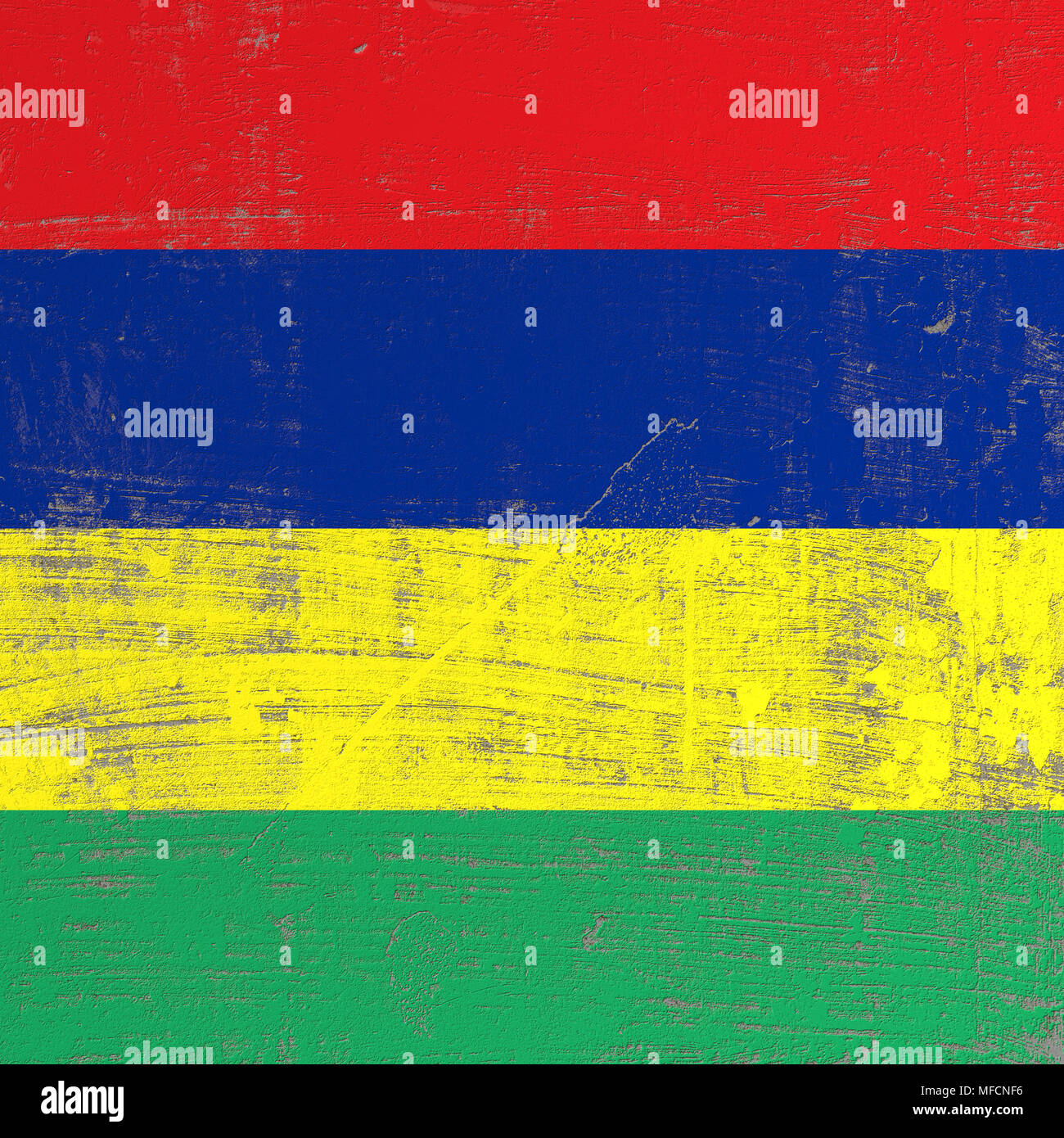 3d rendering of Republic of Mauritius flag in a scratched surface - Stock Image