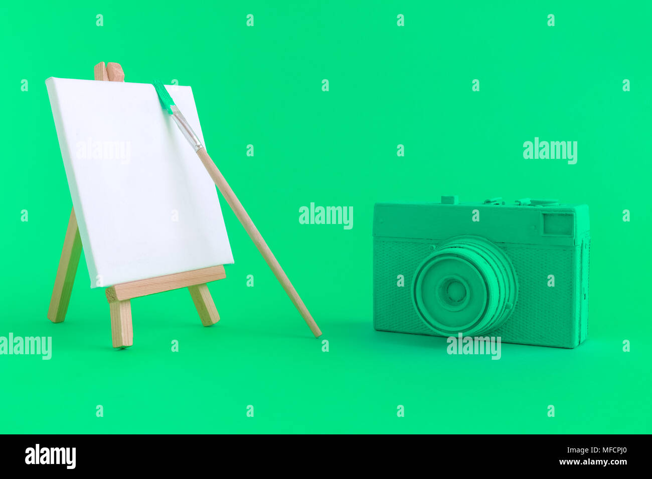 Retro Photo Camera Painted In Neon Green Color And Blank Art