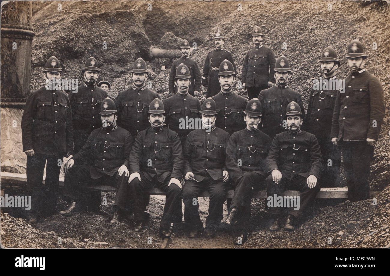 Real Photographic Postcard of Policemen During a Welsh Coal Strike - Stock Image