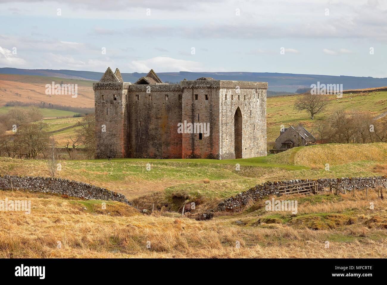 Hermitage Castle, Newcastleton, Roxburghshire, Scottish Borders, Scotland, located in the debatable lands between England and Scotland. Stock Photo