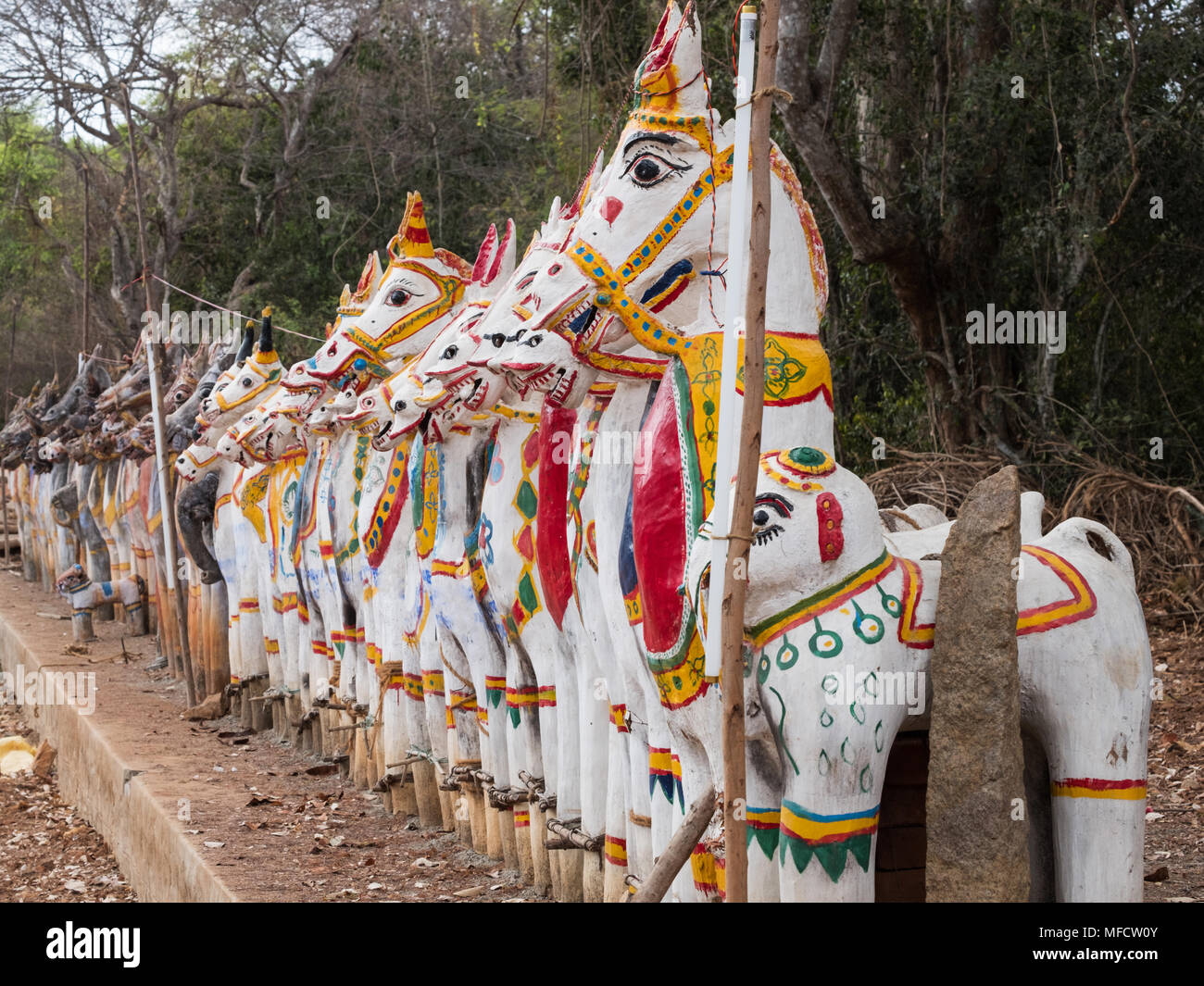 Clay horses assembled in homage to the Hindu god Ayyanar