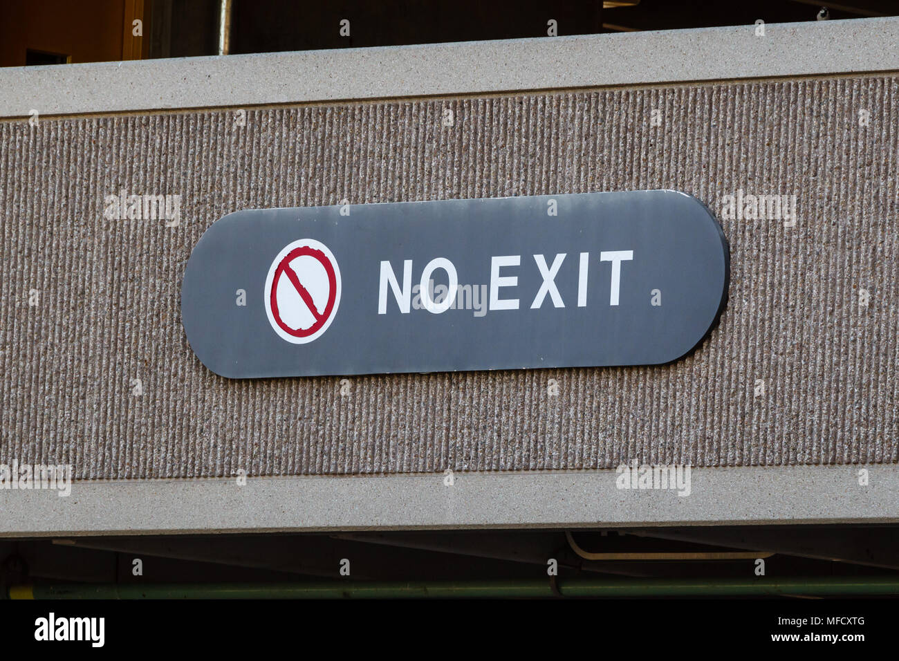 this really should say NOT AN EXIT but doesn't - Stock Image