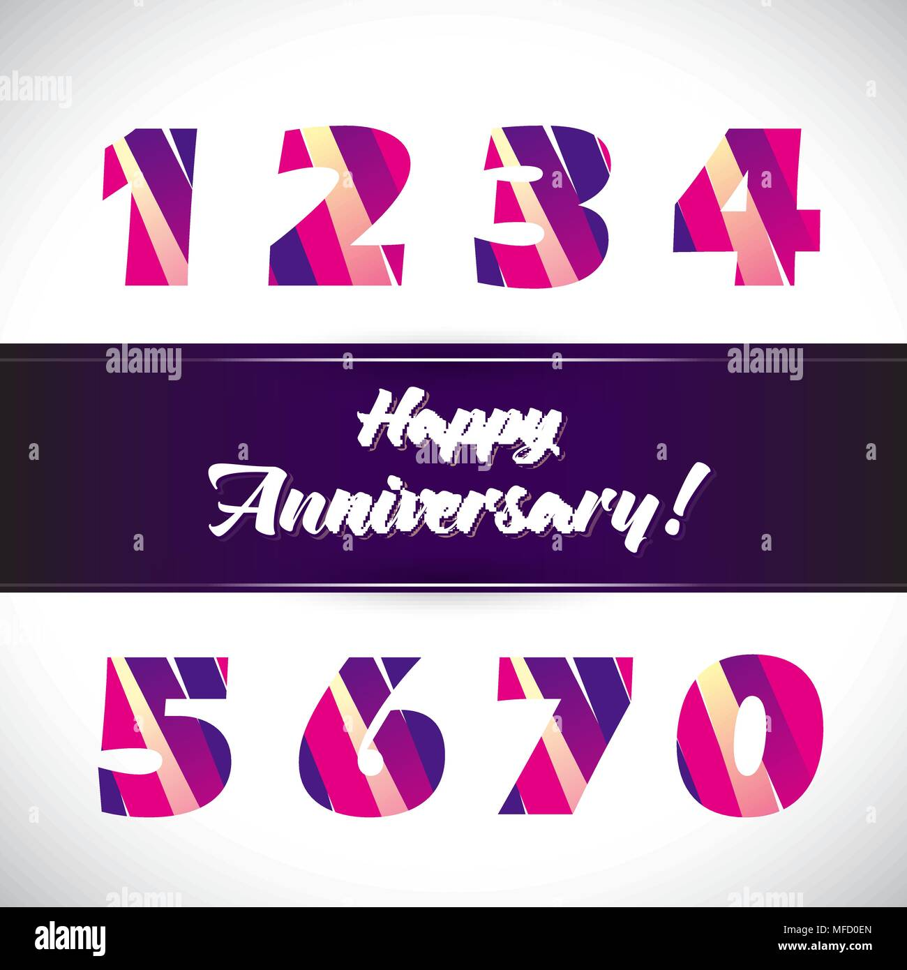 Vector set of anniversary signs, symbols. Ten, fifteen, twenty, thirty, forty, fifty, sixty seventy years jubilee design elements collection - Stock Vector