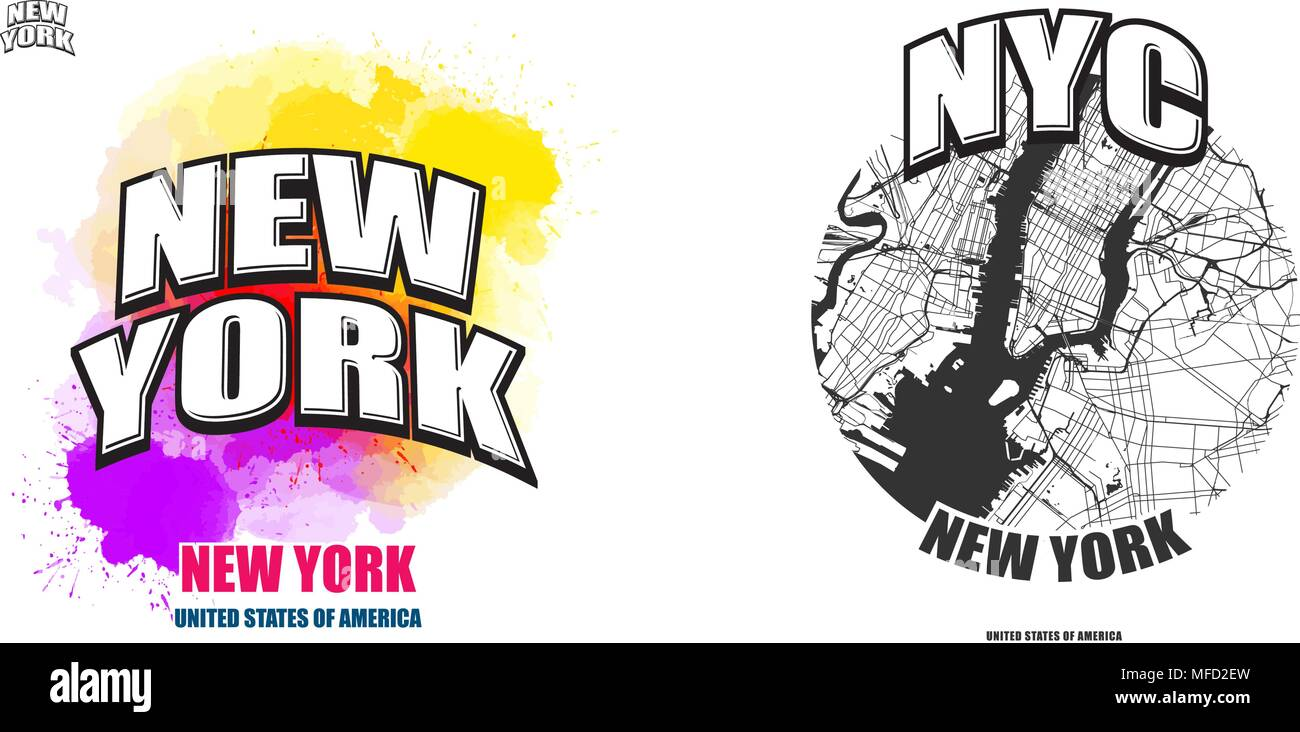 New York City New York Logo Design Two In One Vector Arts Big Logo With Vintage Letters With Nice Colored Background And One Color Version With Ma Stock Vector Image Art Alamy
