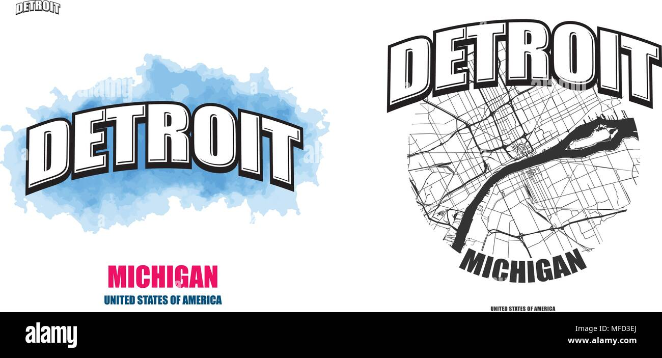 Detroit michigan logo design two in one vector arts big logo two in one vector arts big logo with vintage letters with nice colored background and one color version with map for gumiabroncs Images