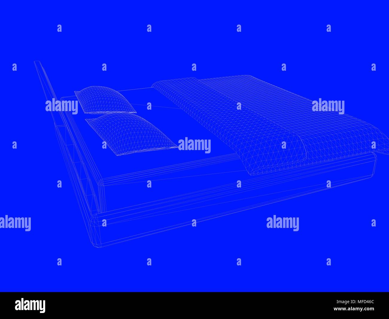 3d rendering of a bed blueprint as lines on a blue background stock 3d rendering of a bed blueprint as lines on a blue background malvernweather Choice Image