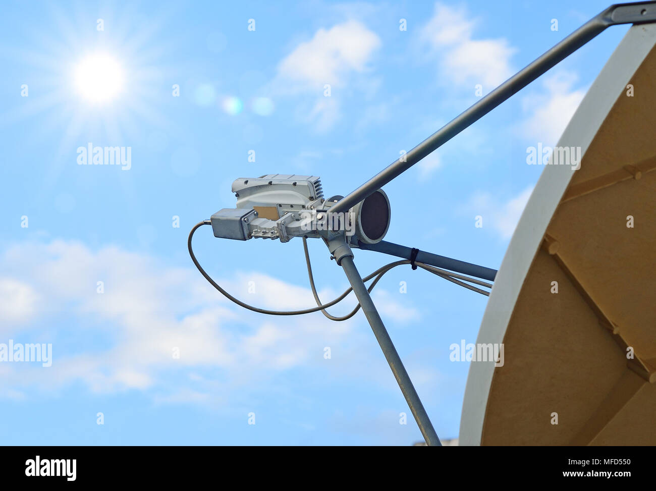 part of satellite dish with sky background - Stock Image