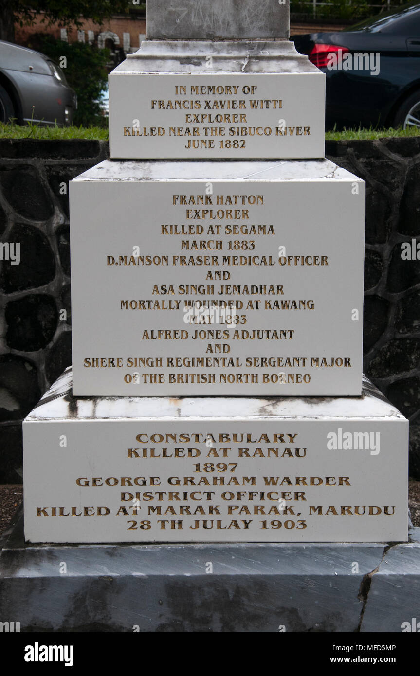 Memorial to colonial-era explorers in the then British North Borneo, Sandakan, Malaysia - Stock Image
