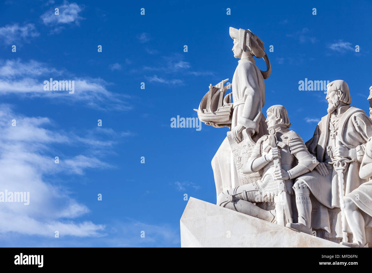 Lisbon, Portugal. Padrao dos Descobrimentos monument. Sea Discoveries Monument commemorates navigators who explored oceans and continents - Stock Image