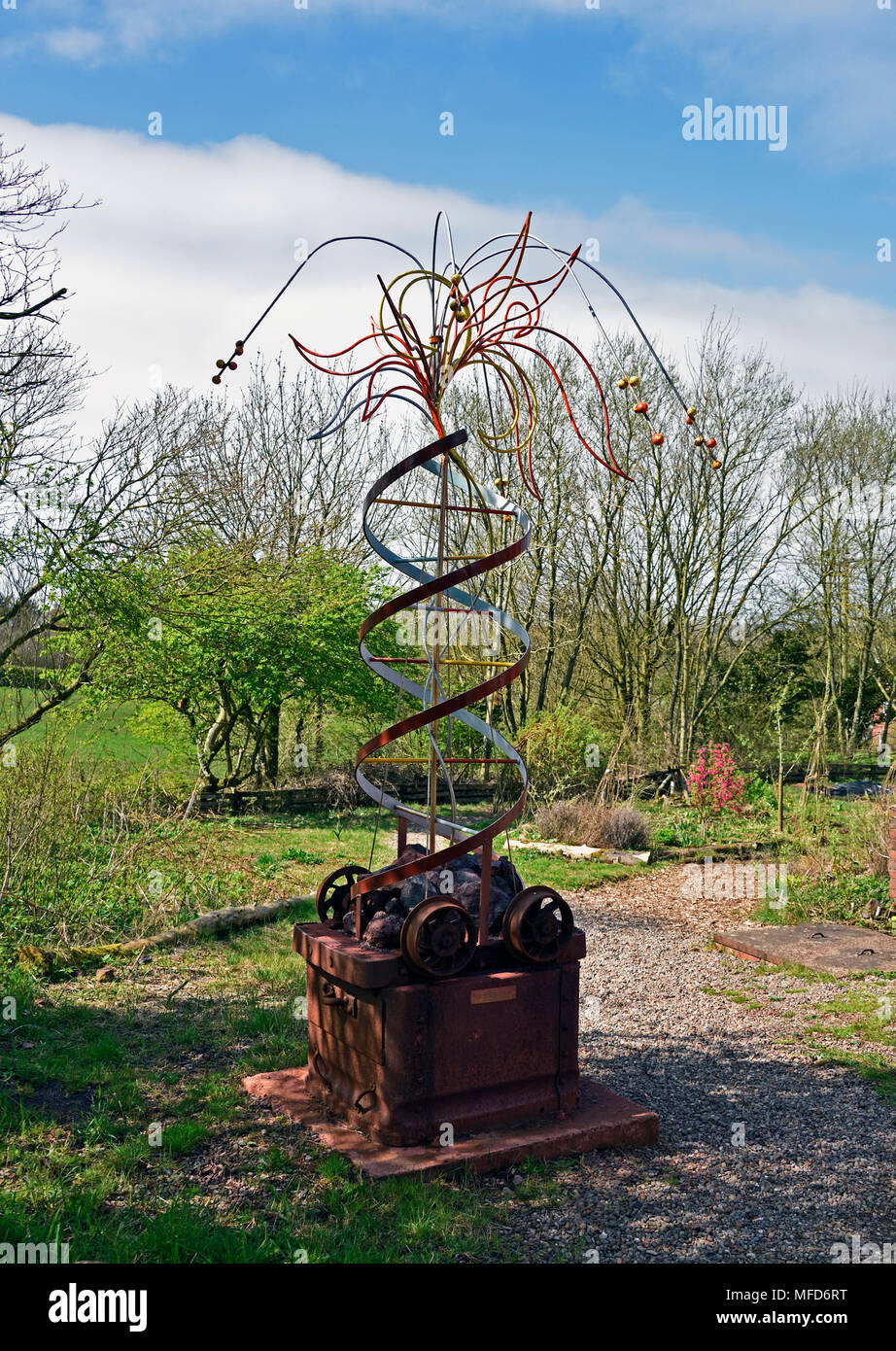'Regeneration', outdoor sculpture. Florence Arts Centre. Egremont, Cumbria, England, United Kingdom, Europe. - Stock Image