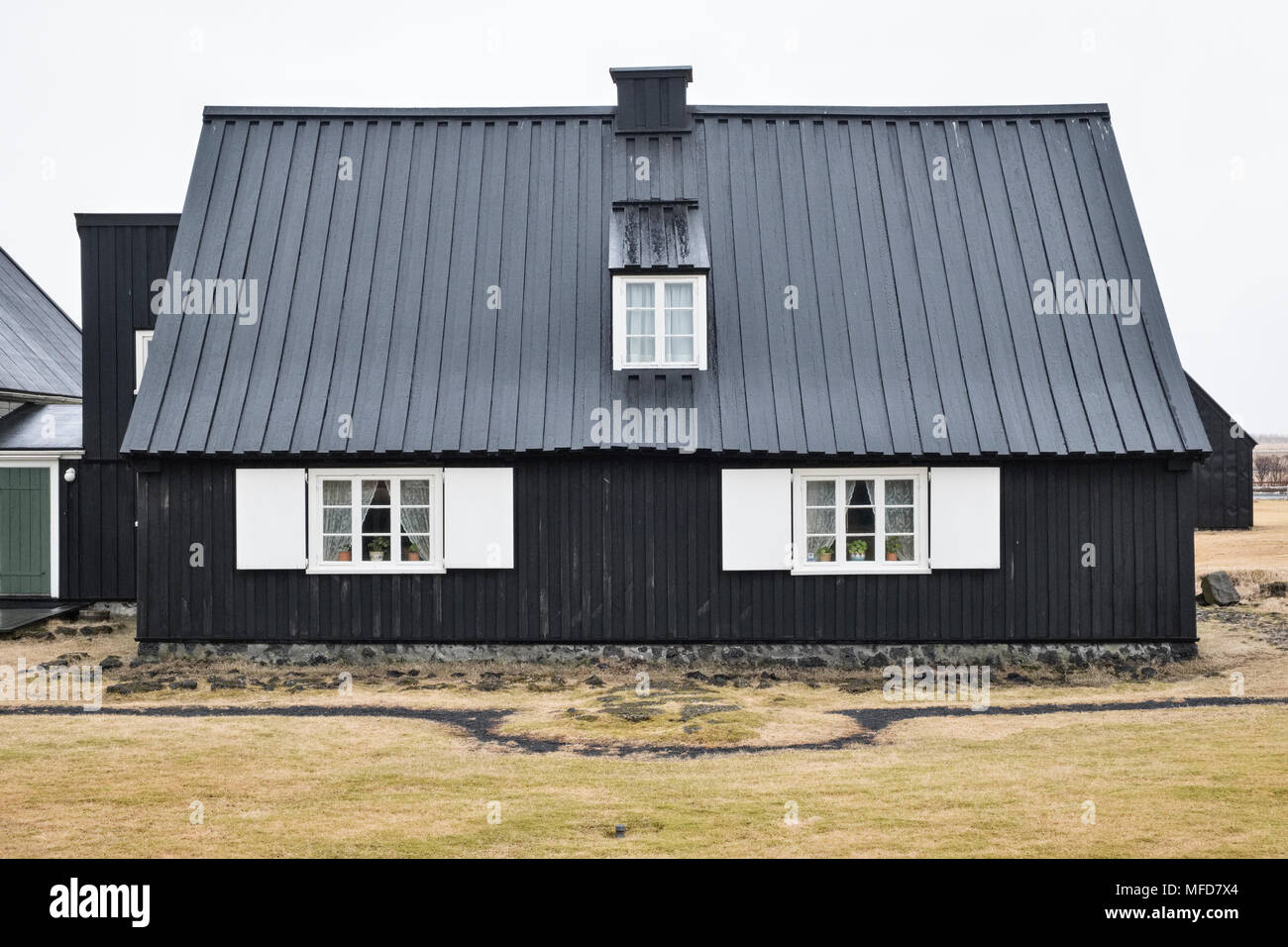 Eyrarbakki, South Iceland. Húsið - The House - is one of Iceland's oldest surviving timber houses, built in 1765 - Stock Image