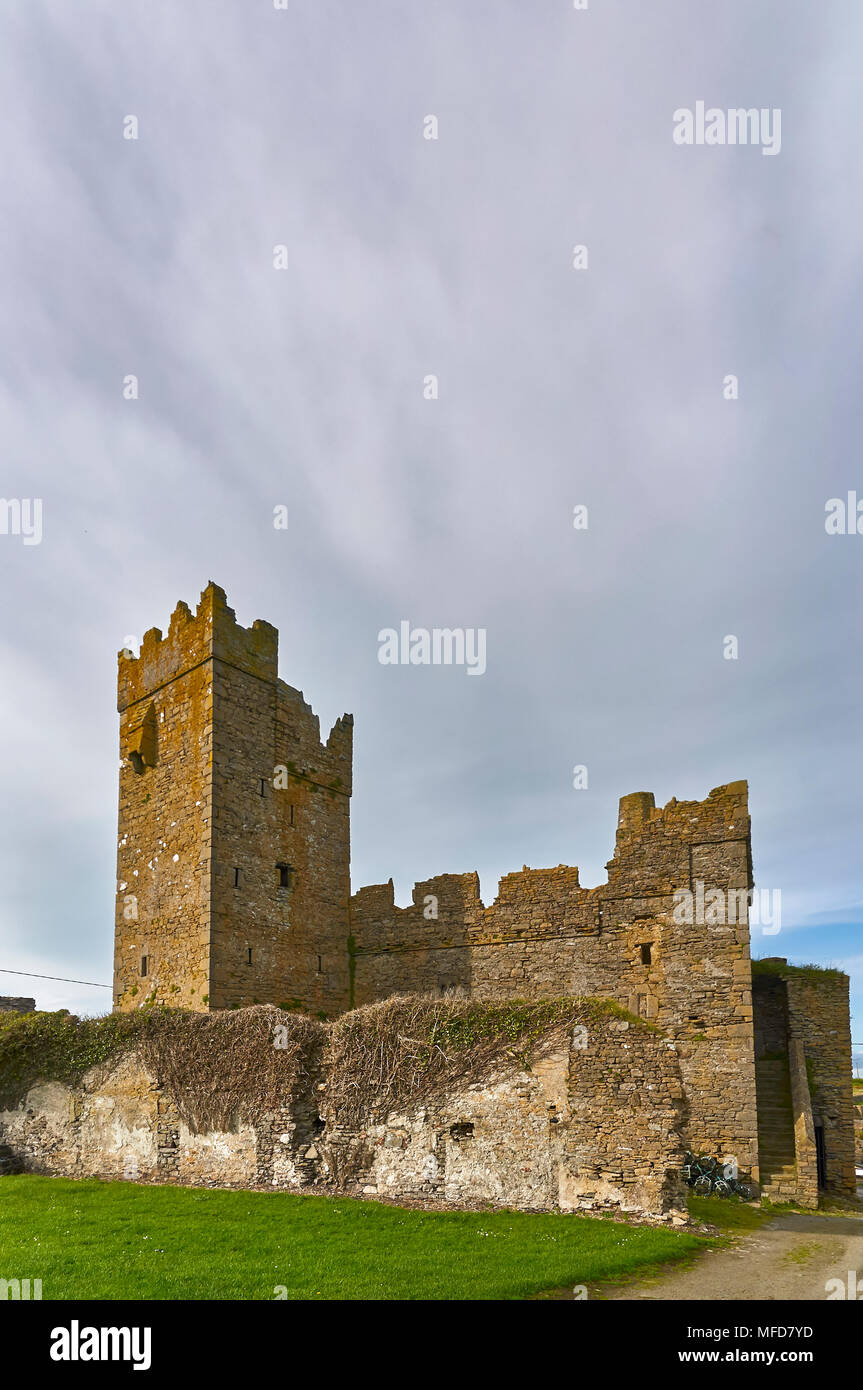 The 15th Century Slade Castle in the Irish Village of Slade is a National Monument a well preserved example of a small Irish Castle. County Wexford, Stock Photo