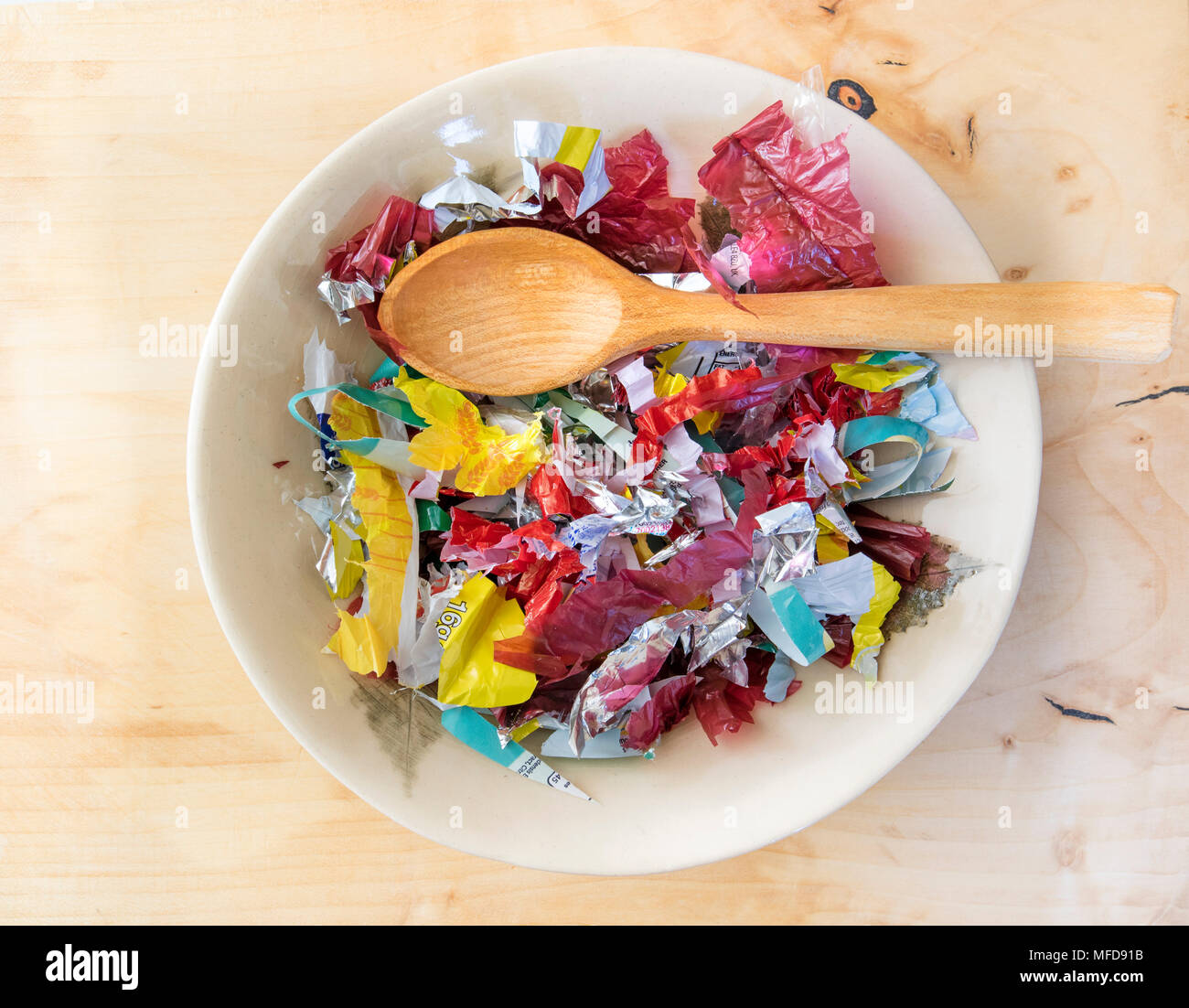 Meal Made of Single Use Plastics from a Supermarket - Stock Image