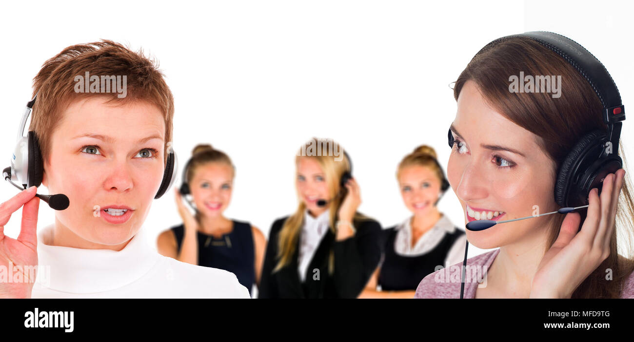 People working at a Call Center - Stock Image