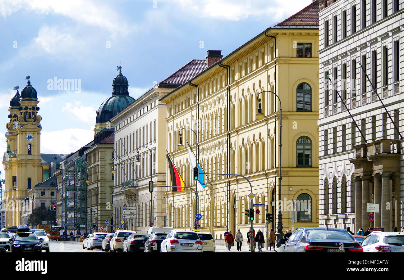 View south from near the Siegestor, of Ludwigstrasse, one of Munich's four Royal Avenues, with many major official buildings, - Stock Image